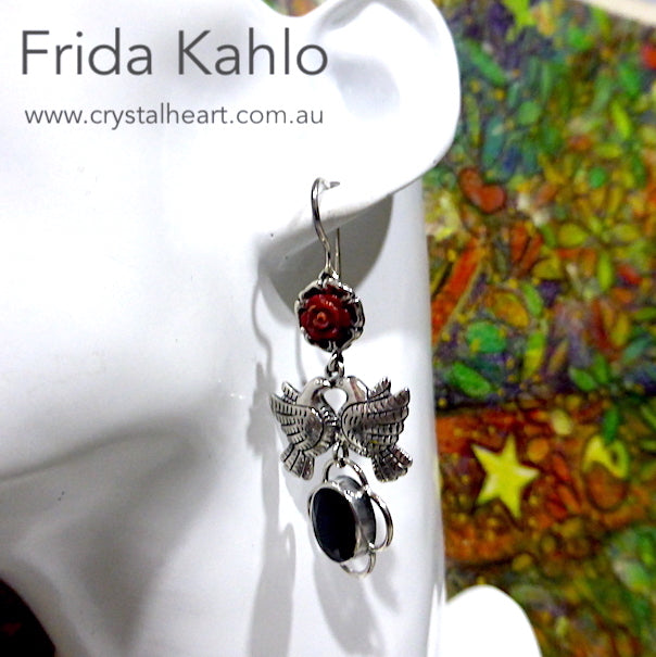 Frida Kahlo Earrings, Dove with Black Onyx, 925 Silver, kt4