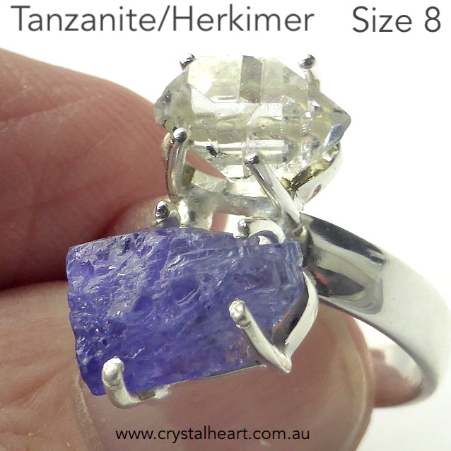 Tanzanite Ring, Raw Nugget and Herkimer Diamond, 925 Silver r4