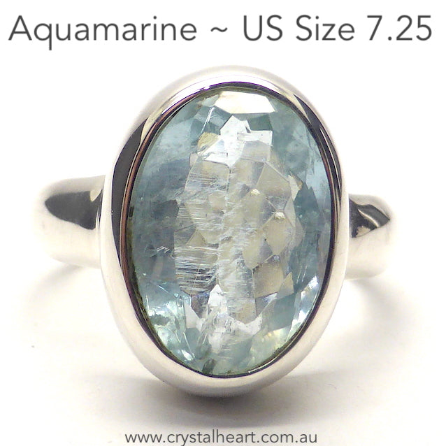 Aquamarine Ring, Faceted Oval, 925 Silver, p1