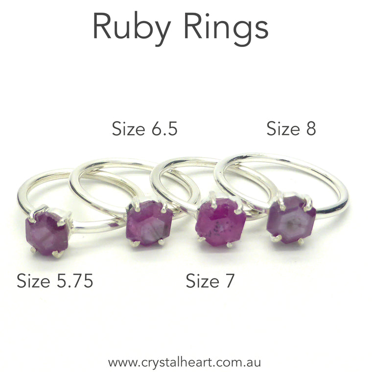 Ruby Ring, Faceted Crystal Slice, 925 Sterling Silver, r1