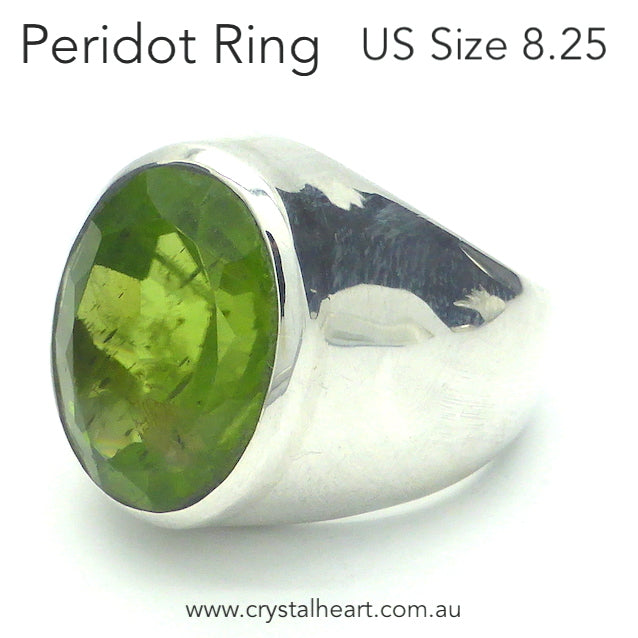 Peridot Ring, Large Faceted Oval, 925 Silver, DK3