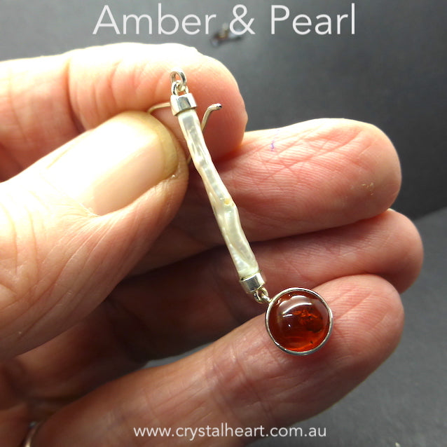 Amber and Pearl Earring, 925 Silver kt