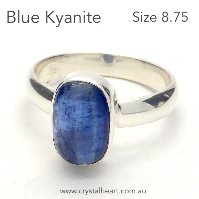 Blue Kyanite Ring, Small Cabochon, 925 Silver r2