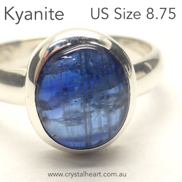 Blue Kyanite Ring, Small Cabochon, 925 Silver r3