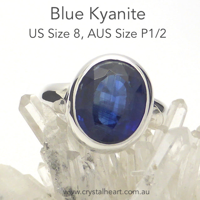 Blue Kyanite Ring, Faceted Oval, 925 Silver, p3