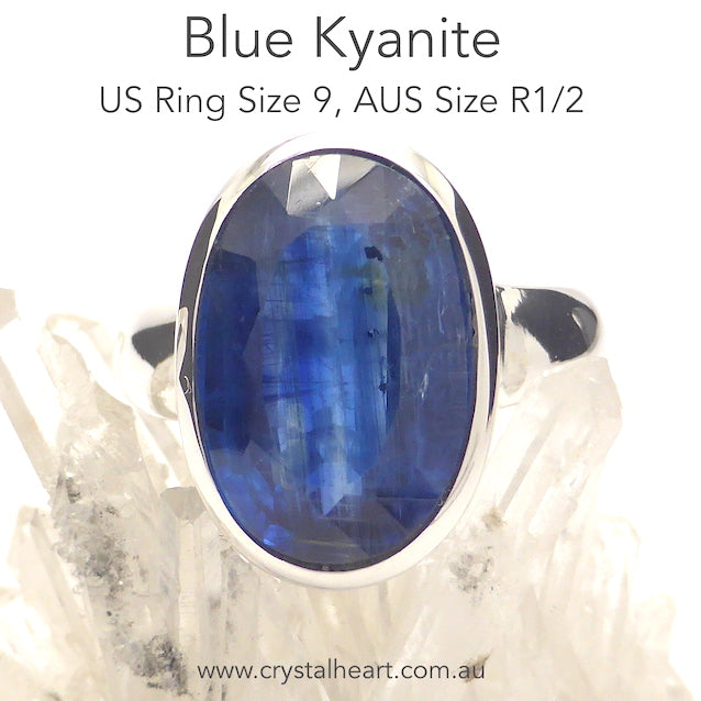 Blue Kyanite Ring, Faceted Oval, 925 Silver, p4