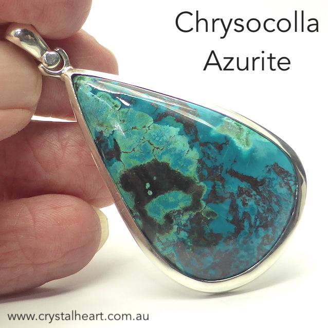 Chrysocolla with Azurite Pendant, Teardrop, 925 Silver p