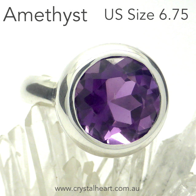 Amethyst Ring, Faceted Round, 925 Silver k2