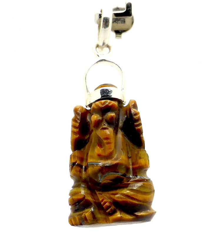Carving Ganesh Tiger Eye Pendant | 925 Silver | Nicely carved Ganesha | Lord of Wisdom, Overcomer of obstacles & Creativity | Tiger Eye mental strength | Crystal Heart Australia since 1986