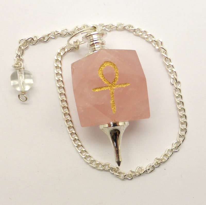 Rose Quartz Dodecahedron Golden Ankh Pendulum | Tool for Intuition | Loving and Centering | Crystal Heart Melbourne Australia since 1986