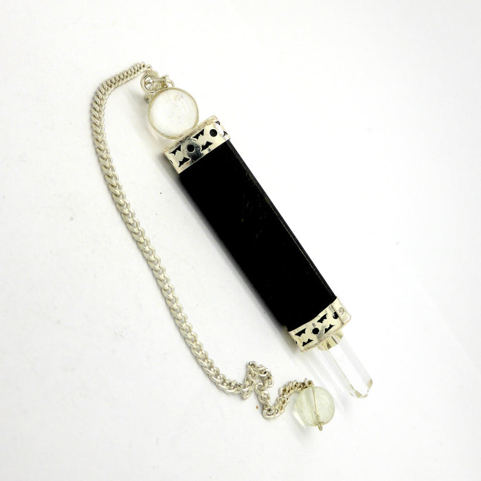 Pendulum Black Tourmaline and Clear Quartz
