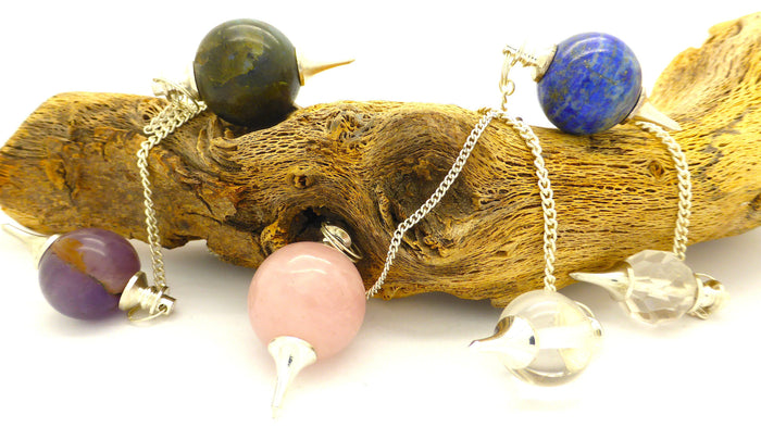 Ball Pendulum with semi precious Gemstone |  Amethyst | Clear Quartz | Rose | Labradorite | Lapis  | Crystal Heart Melbourne Australia since 1986