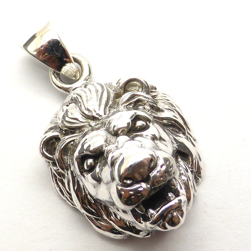 Pendant Lion Head | 925 Sterling Silver | Snarling, Fierce, yet dignified Leo or Aslan | Mithras | Crystal Heart Melbourne Australia since 1986