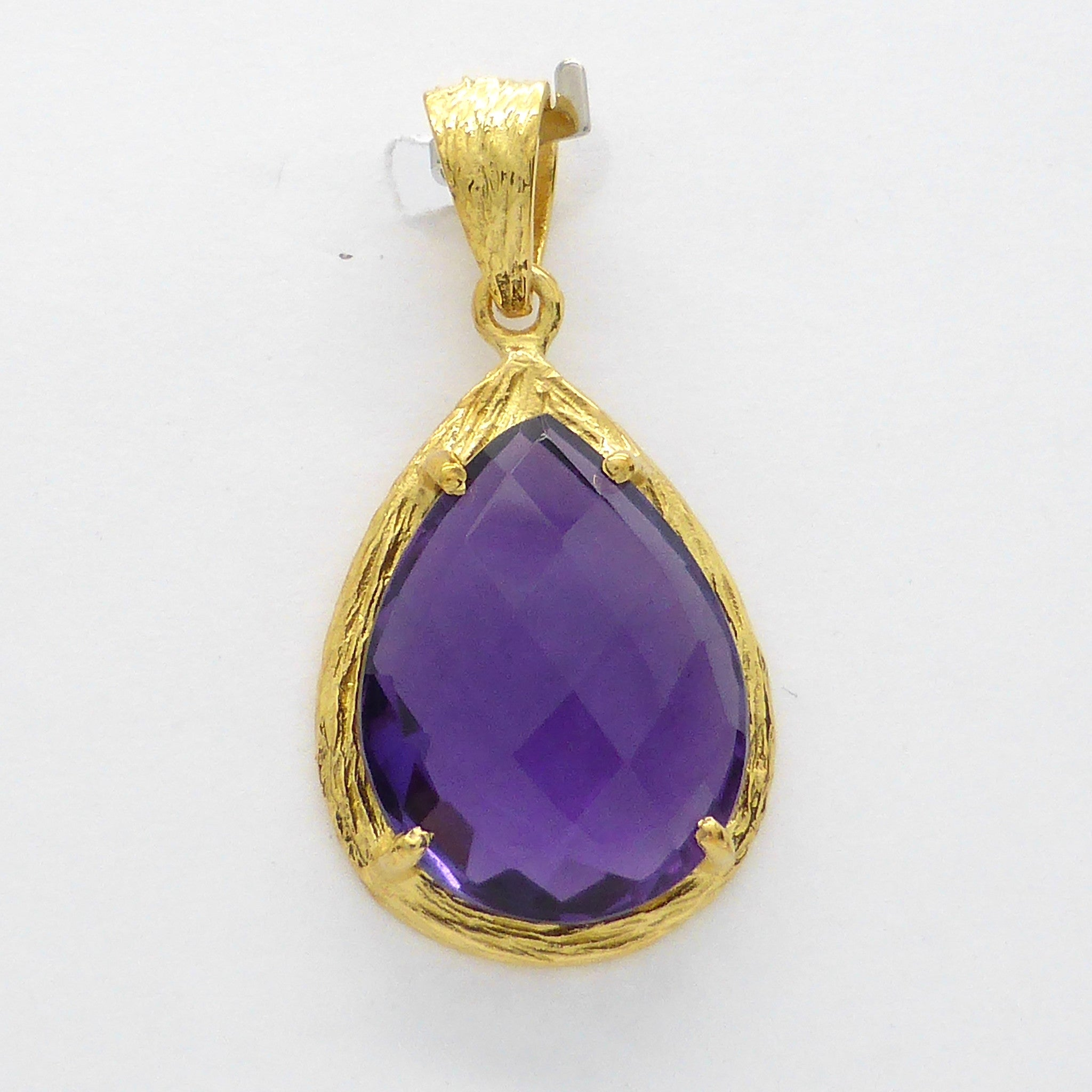 Amethyst Hydro Faceted Pendant Gold Plate