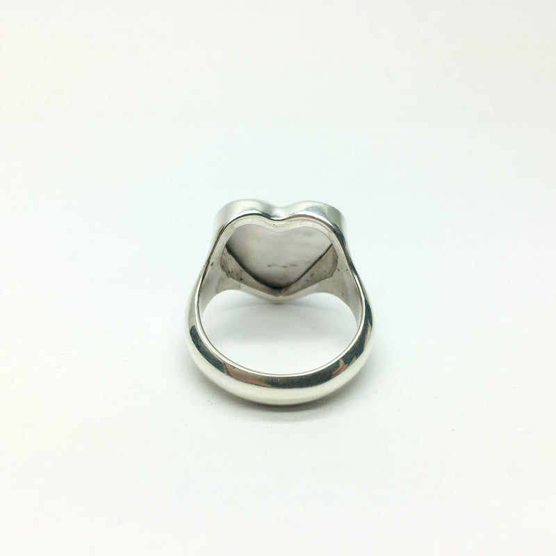 Mabe Pearl Ring | Heart Shaped Stone | 925 Silver | Tahitian | Simple besel setting | Soothing heart energy | US size 9 or 10 | Crystal Heart Australia 1986
