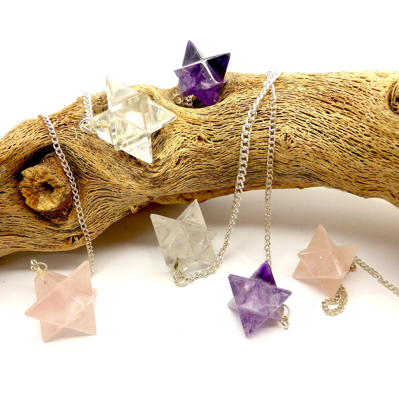 Pendulum Natural Crystal Merkabah | Clear Quartz | Rose Quartz | Amethyst | Crystal Heart Melbourne Australia since 1986