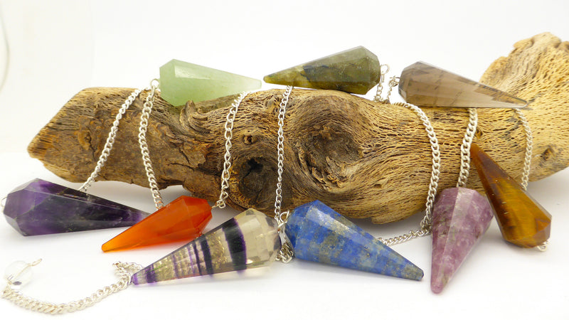Faceted Point Gemstone Pendulum | Amethyst | Carnelian | Fluorite | Labradorite | Lapis | Rose Quartz | Tiger Eye | Black Tourmaline | Crystal Heart Melbourne Australia since 1986