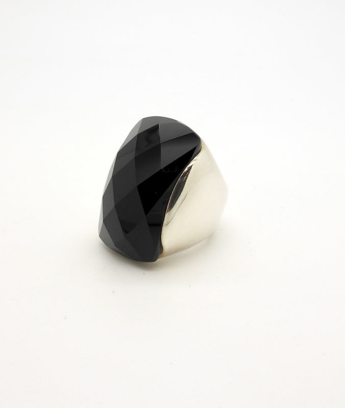 cut Onyx Large ring silver