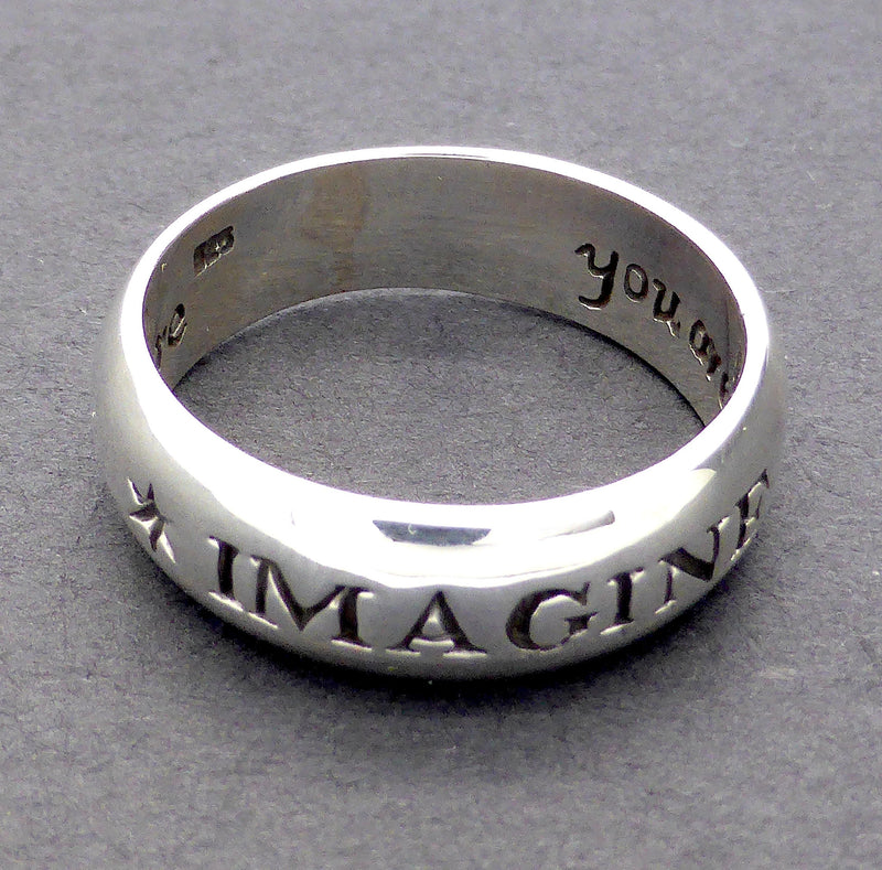 Sterlng Silver Ring IMAGINE You are a Star Love who you are Motto Ring