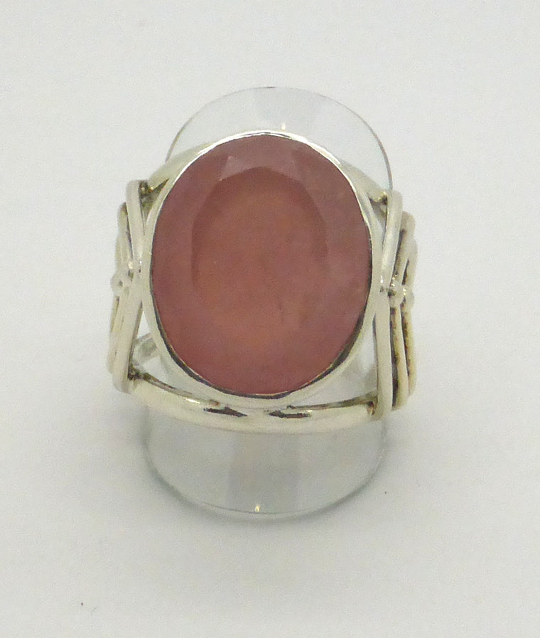Rose Quartz Ring | Faceted Oval | 925 Silver