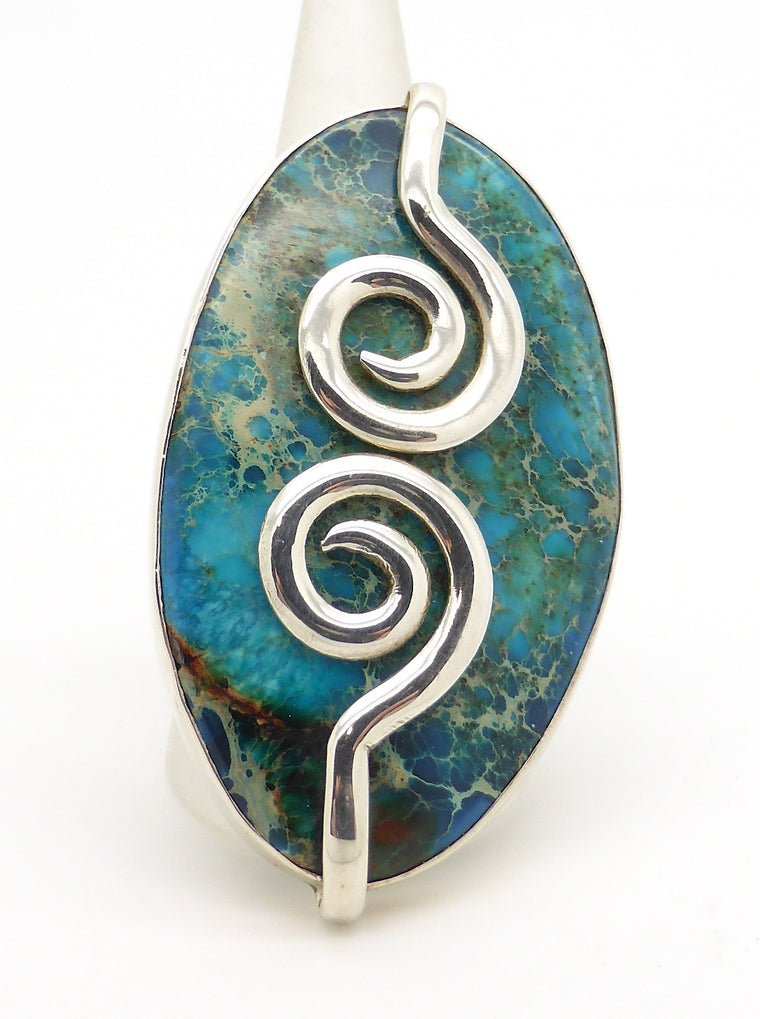 Turquoise Ring, Giant Stone, 925 Silver