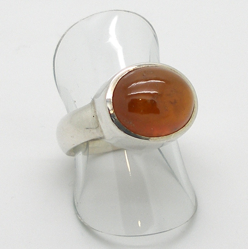 Orange Hessonite Garnet Cabochon Ring 925 Sterling Silver Softly stimulating and Centering | US Size 6.5 | Crystal Heart Melbourne Australia since 1986