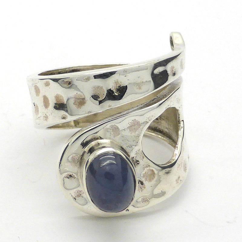 Tanzanite Cabochon Adjustable Ring Hammered Beaten Silver