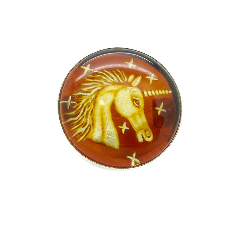 Amber Ring, Baltic, Unicorn Carving