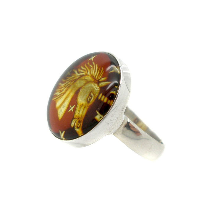 Ring Amber Crystal Heart