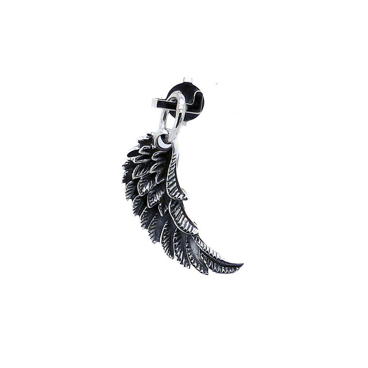 Angel Pendant, Single Wing Charm, Oxidised 925 Silver