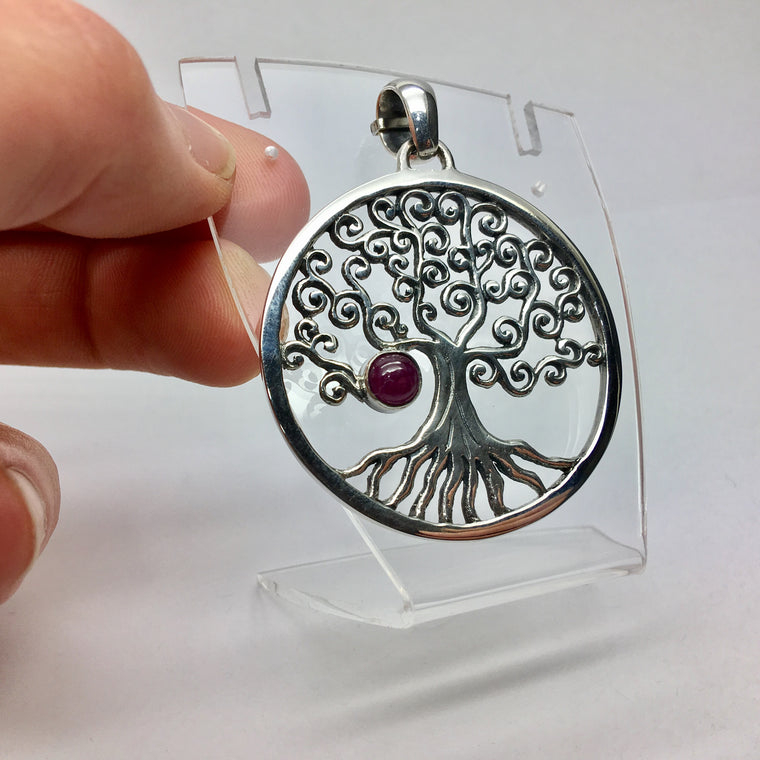 Tree Pendant, Ruby Cabochon, 925 Silver dkg