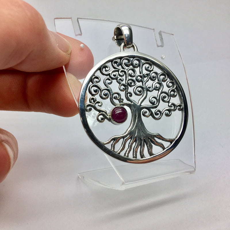925 Sterling Silver Tree of life with Spiral branches from which a genuine round ruby hangs like a ripe apple | Crystal Heart Gemstones Melbourne Australia since 1986