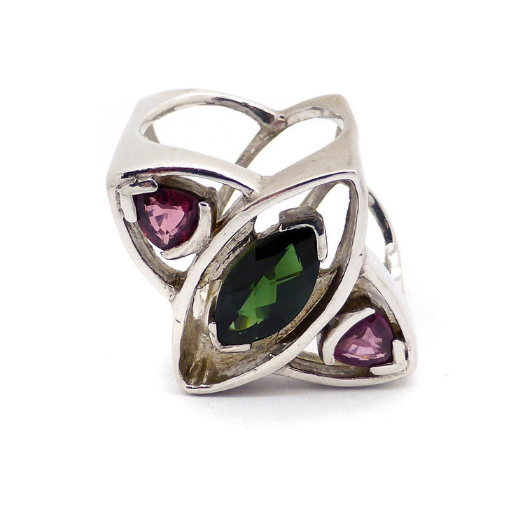 Tourmaline Ring, Green & Pink, 925 Silver
