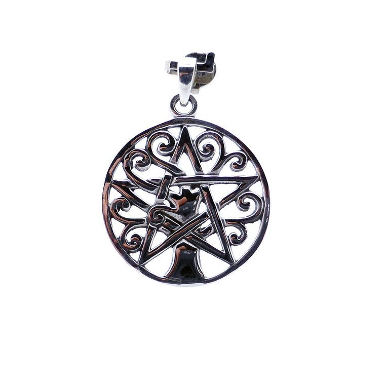 Tree Pendant with Pentacle, 925 Silver