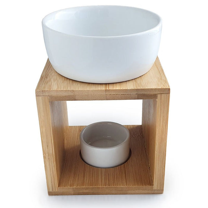 Oil Burner | Pure Essential Oils | Elegant Bamboo Wood | Large detachable Ceramic Bowl | Aromatherapy Essential Oils or Wax Cakes | Tea Light Candle | Vapouriser | Crystal Heart Melbourne Australia since 1986