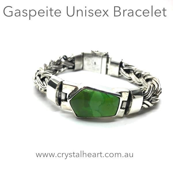 Bracelet Genuine green Gaspeite from W.Australia | Heavy 925 Sterling Silver Snake Chain | Male | Female | Crystal Heart Melbourne Australia since 1986