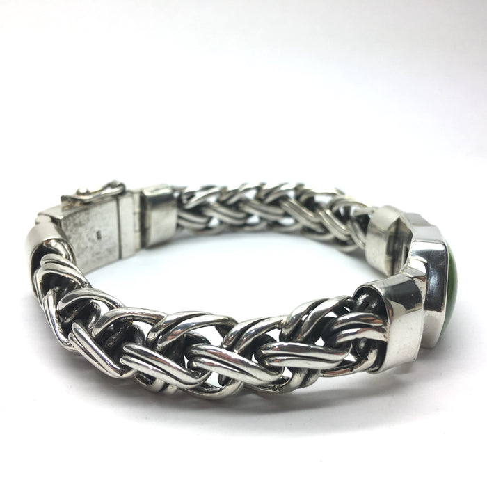 Bracelet GASPEITE,  Heavy 925 Sterling Silver Snake Chain Classic DeKoster Design - 90 gms of silver are used to make a super substantial setting which is still Feminine. Robust clasp with safety link. Face 25 x 15 mm, Wrist size 60 x 45 mm  More Gaspeite Here