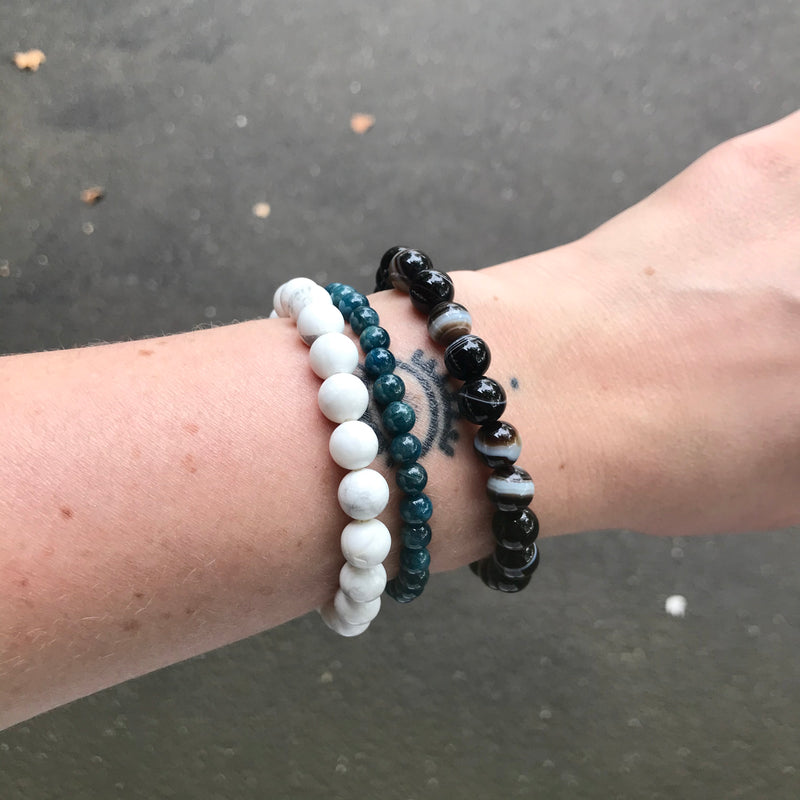 Howlite, Apatite, Banded Agate Beaded Bracelet's| Fair Trade Semi Precious Gemstone Bracelets | Stretch Bracelet | Genuine Gemstones from Crystal Heart Melbourne Australia since 1986