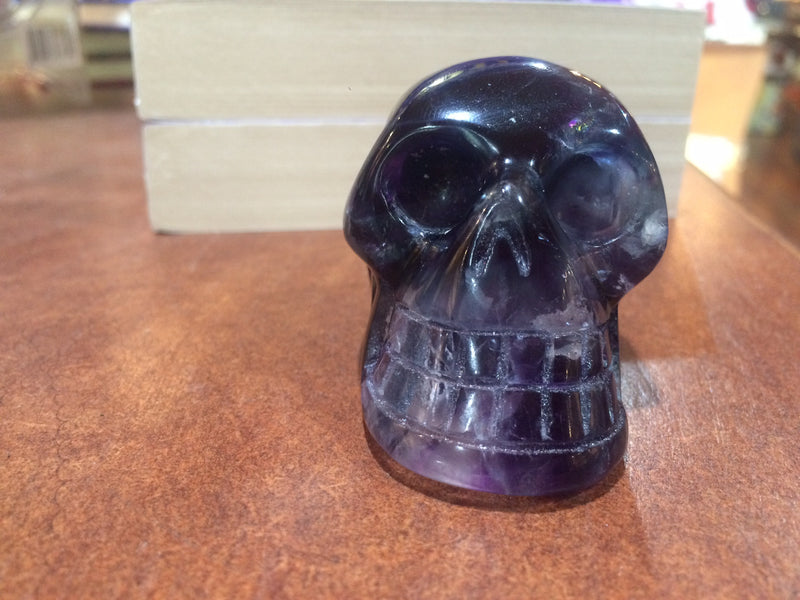 Skull | Genuine Hand Carved Gemstone | Fluorite AKA the Genius Stone | Study | Crystal Heart Melbourne Australia since 1986