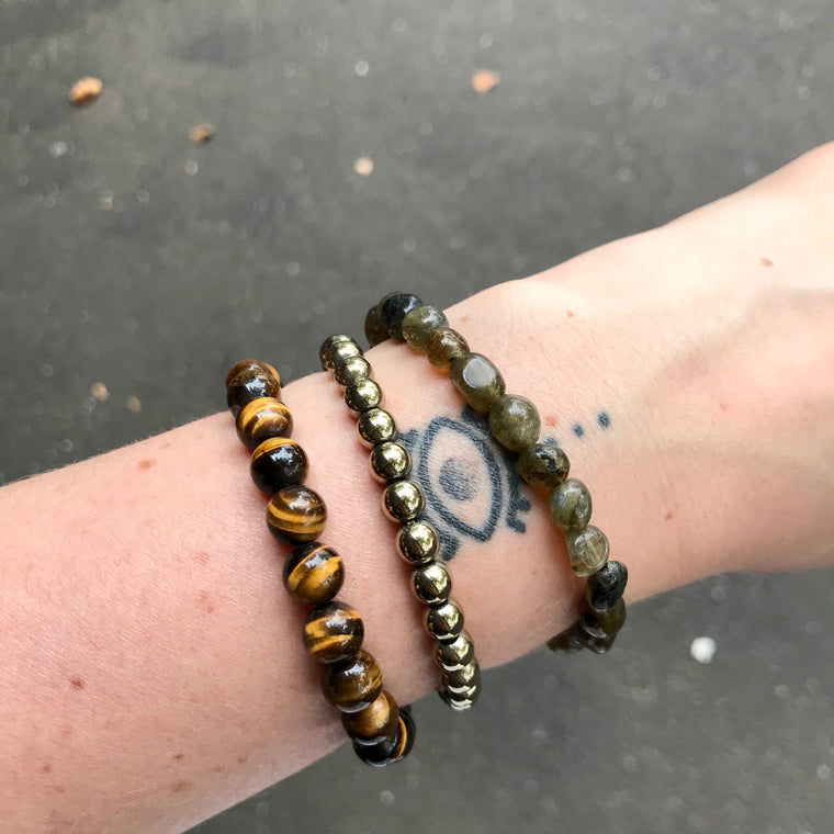 Tiger Eye, Pytire, Labradorite Beaded Bracelet's