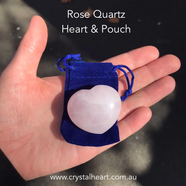 Rose Quartz Heart Carving & Pouch