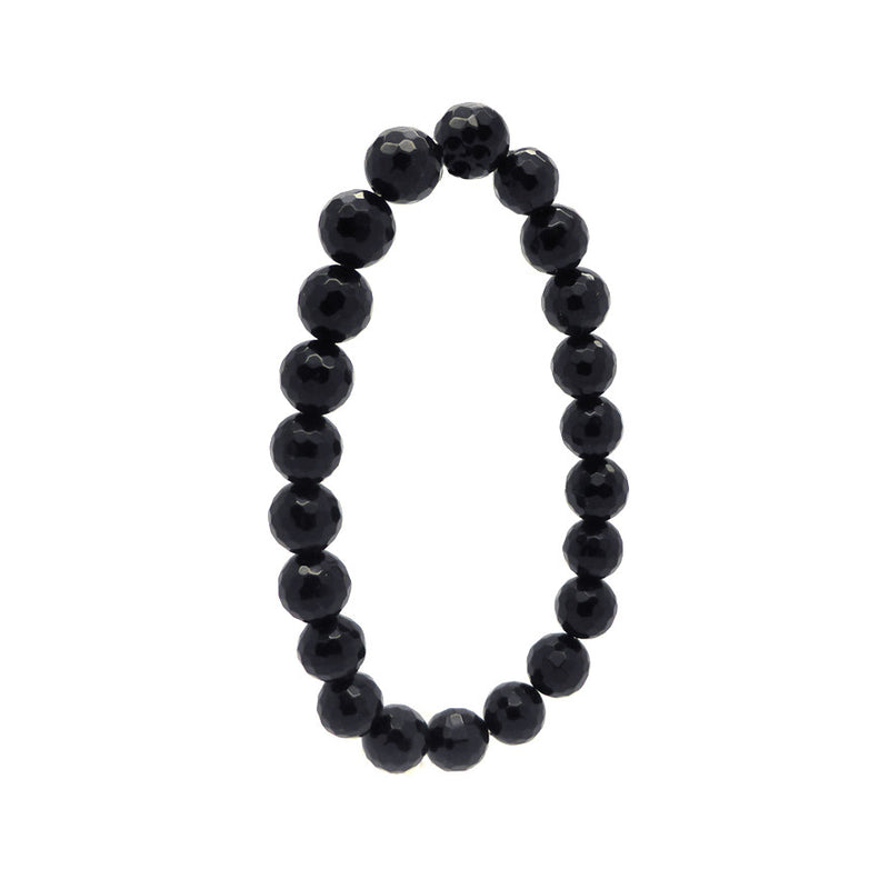 Faceted Black Onyx Beads, 8 mm in a stretch bracelet | Fair trade Product made in our workshop in Thailand | Strongest elastic thread we can find | Fits any average wrist | Genuine Gems from Crystal Heart Melbourne Australia since 1986