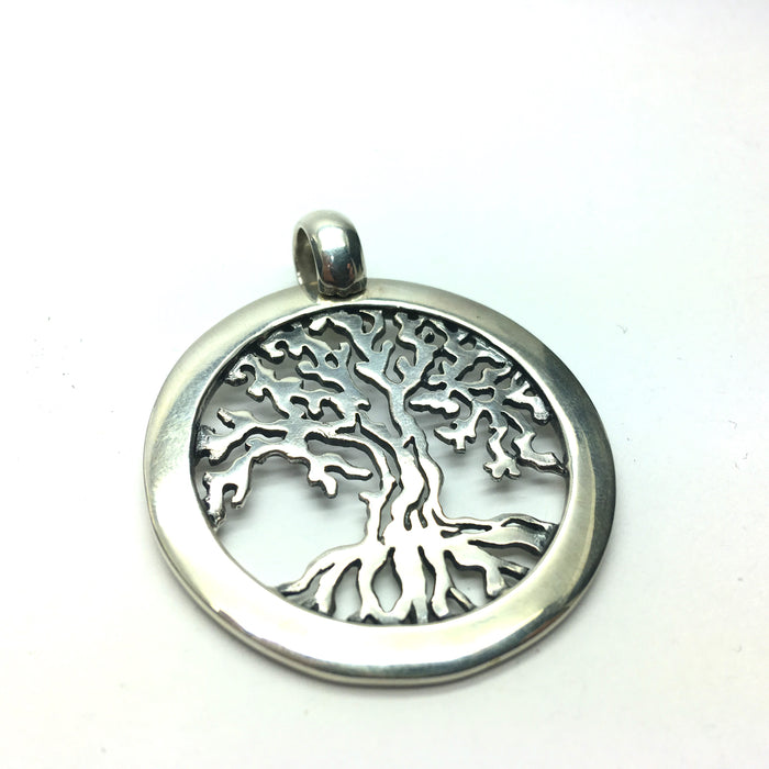 Tree of Life Pendant | Heavy 925 Sterling Silver | 4 mm circular border and matching bail | Stylised Ancient Wisdom Tree | Crystal Heart Melbourne Australia since 1986