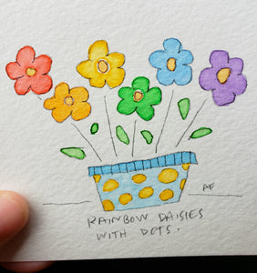 Rainbow Daisies with Dots
