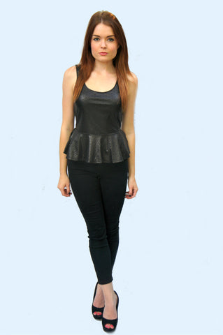 Lush Black Star Peplum Top