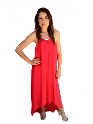 Eight Sixty Coral Necklace Maxi Dress