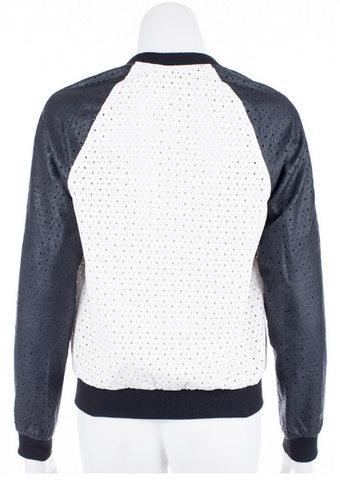 Lush Domino Laser Cut Faux Leather Bomber
