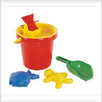 Sand & Water Play - Bucket, Water Wheel, 2 Moulds & Spade