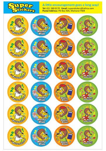 Stickers - Maths Lion 72pc  - MS 98