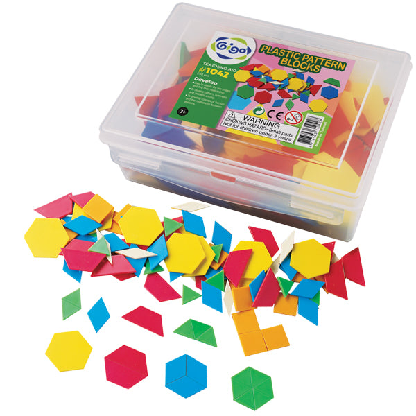 Pattern blocks plastic in container  -250pc